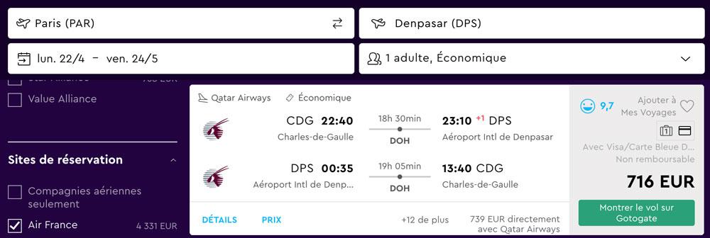Paris Bali Billet avion Pas cher