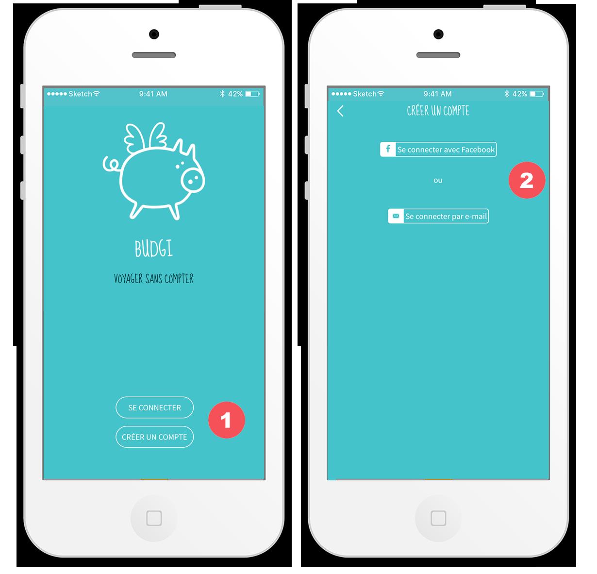 Budgi application voyage - créer un compte