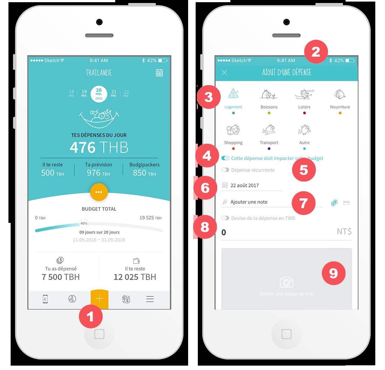 Budgi app ajouter une dépense