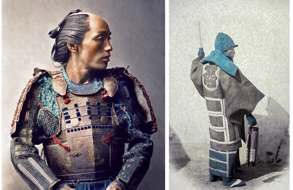 Portrait samourai Japon Indigo