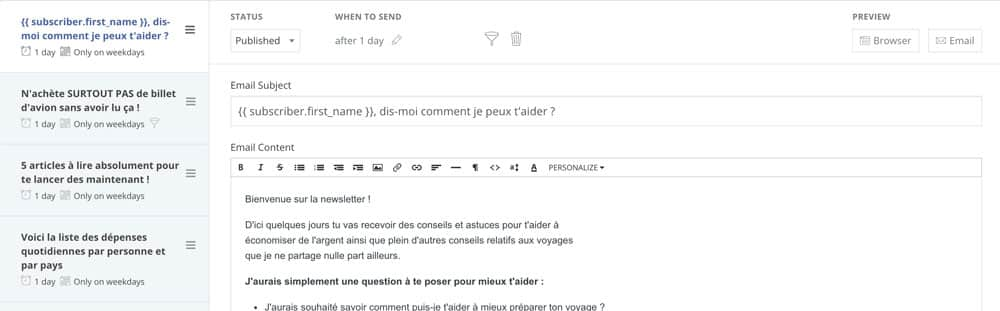 Créer une newsletter - séquence email